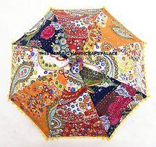 Designer Indian Patchwork Kantha Quilt Paisley Embroidered Umbrella Sun Parasol