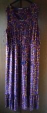 TU  SIZE 22  PURPLE  COLOURED  ABSTRACT  PATTERN LADIES  VISCOSE LONG DRESS