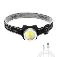 Mini 3 Mode COB LED Headlamp Rechargeable Camping Flashlight Outdoor Head Torch