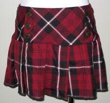 Women's Tripp Plaid Mini Skirt Dark Red Burgundy ~ Black ~ White