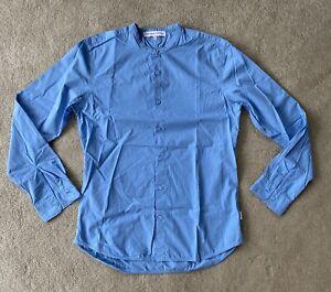 Orlebar Brown Shirt Grandad Collar Poplin Lightweight L/S Blue Medium New £195