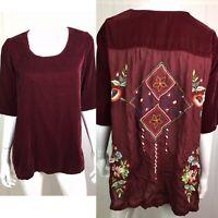 NWT $128 Kyla Seo Burgundy Velvet Boho Embroidered Tunic Top Anthropologie Small