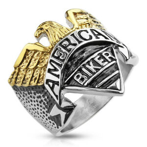 Eagle with American Biker Engraving Stainless Steel Cast Band Ring R658