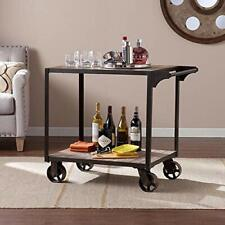 Wood Rolling Bar Serving cart Industrial Extra Serving Storage 2Tier Bart Carts