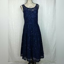 Torrid Cocktail Dress Size 10 Navy Blue Lace Sequin Midi Swing Party