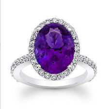 4.13 Ct Real Oval Cut Amethyst Ring 14K Solid White Gold Diamond Rings Size M N