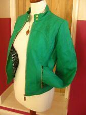 Ladies green teal faux leather JACKET UK 12 10 US 8 6 biker racer machine wash