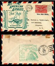 AMERICAN AIRWAYS FIRST FLIGHT ROUTE 97 USA AIR MAIL COVER 1949 - reverse stamped