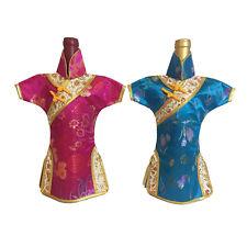 2 Cheongsam Red Wine Storage Bag Bottle Shade Cloth Oriental Chinese Dress Gold