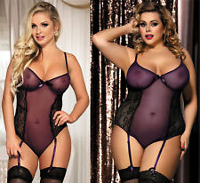 Stunning Poetical Purple Erotic Teddy Lingerie Sheer Mesh Bodice 8-22 Plus Size