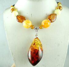 Precious Modernist Multicolor Gem amber Handmade Gemstone Jewellery Necklace N1