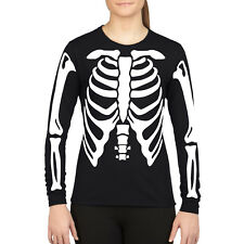 Skeleton Fancy Dress Halloween T Shirt Mens Womens ARMS BODY PRINT Party H4