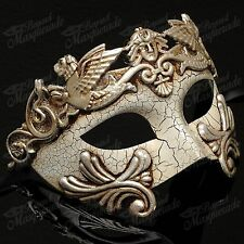 Mens Greek Roman Venetian Masquerade Ball Party Prom Mask with Cracks [Silver]