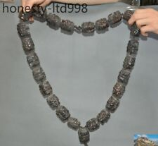 Old Tibet Buddhism Cattle bone Mahakala Dorje Buddha head Beaded amulet necklace