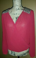 Dina be top, silver design on shoulder, long sleeves, bubble blouse style