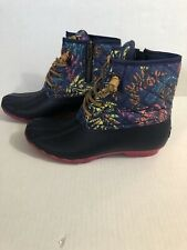 Womens Sperry Duck Boots Size 7 Floral Colorful Pink