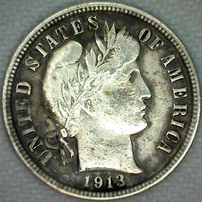 1913 Silver Barber Dime 10 Cent US Coin 10c VF Very Fine Philadelphia K45