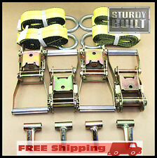 12PC Combo Lasso Wheel Lift Straps Ratchet J Finger Hook Tow Towing Tie Down