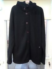 ONE TRUE SAXON KNITTED HOODED JACKET XL FRONT ZIP BUTTON FAST EX CON BLACK