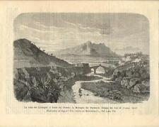 Stampa antica MONTSERRAT Valle del Llobregat Dorè 1891 Grabado antiguo Old Print