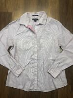 Pink White Checkered Long Sleeve Button Front Top Lands End Sz 6P Womens Petites