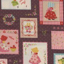 Sunbonnet Sue - Vintage Étiquettes - Riche Marron - 100% Tissu Coton Floral