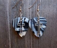 Cross Outline Charm Guitar Pick Earrings - Pick Your Color