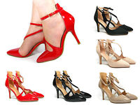 Stiletto High Heels Cuff Ankle Strap Pointed Casual Party Evening Shoes Size