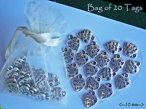 Made with Love Heart Shape metal labels  20 tags silver alloy jewellery sewing