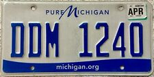 GENUINE American www.Michigan.gov USA License Licence Number Plate DDM 1240