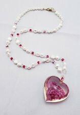 Fresh Water Pearl and Acrylic Heart Pendant Necklace *WOW*