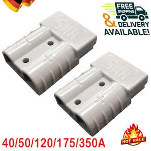 2 Batteriestecker mit Kupplung Steckverbindung 40A-350A Grau für Anderson Satz