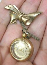 Vintage Jewelry Brooch 12K Overlay w Watch Pendant Guilloche Rose