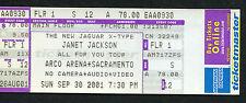 2001 Janet Jackson unbenutzt voll Konzert Ticket Alles für Sie Tour Sacramento ca