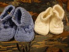 lot=naissance,bébé ,  poupon poupée vintage ,blanc +bleu  chaussons laine neufs
