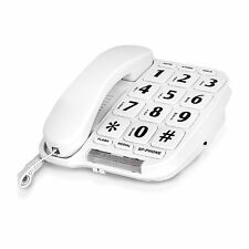 Large Number Big Bottom Telephone Handset Home Answering Phone White New Speaker