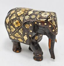 Antique Wooden Elephant Figurine Original Old Fine Hand Carved Inlay