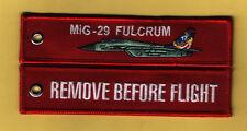 MIG-29 FULCRUM RIMUOVERE PRIMA DEL VOLO ricamato PORTACHIAVI/ETICHETTA - NUOVO
