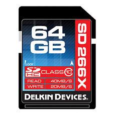 Delkin 64GB SD Pro Class 10 266X Secure Digital Speed ->Lifetime Warranty