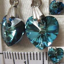 Handmade Earrings using SWAROVSKI element 1cm AB Crystal heart Bermuda blue (US1
