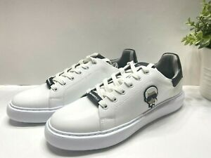 NEW Karl Lagerfeld Men's Lace Up Leather Sneakers Shoes Karl Head White 9, 9.5
