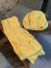Mini Boden Yellow Angora Blend Knitted  Hat And Scarf Set Girls