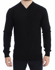 NWT $700 DOLCE & GABBANA Black Cashmere V-neck Sweater Pullover Top s. IT46 / S