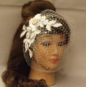 Ivory White Birdcage veil wedding birdcage veil w SILVER thread lace fascinator
