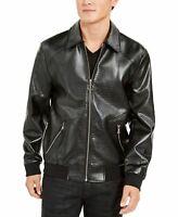 INC Mens Jacket Black Size Large L Wild Embossed Coach Faux Leather $129 018