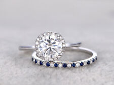 Moissanite & Sapphire Wedding Engagement Ring Set 14K White Gold Plated Silver