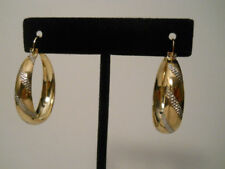 14K Gold Filled Two Tone Traditional Hoop Earrings Item #A122