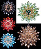 LARGE GOLD TONE RED, GREEN, BLUE, BLACK, OR AMBER RHINESTONE CRYSTAL BROOCH PIN