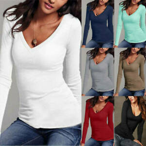UK Women T Shirt Casual Sleeve Long Cotton V-Neck Blouse Ladies Slim Casual Tops