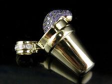 "10K Yellow Gold Genuine Diamond Purple Syrup Pendant Charm 1/2 Ct 1.1"""
